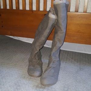 Tall Tan Warm Fashion Boots